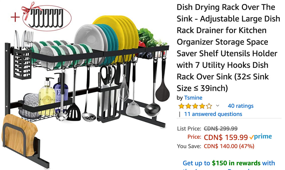 Amazon Canada Deals: Save 47% on Dish Drying Rack Over The Sink + 40% on Conair 3Q Brushless Motor Dryer + 44% on Mirror Dash Cam + More Offers