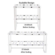Load image into Gallery viewer, Order now under sink organizer 2 tier expandable kitchen bathroom pantry storage shelf multi functional adjustable under kitchen sink organization storage rack heavy duty white