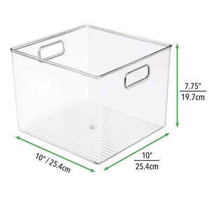 The best mdesign plastic food storage container bin with handles for kitchen pantry cabinet fridge freezer large organizer for snacks produce vegetables pasta bpa free 10 square 8 pack clear