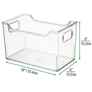 Home mdesign plastic kitchen pantry cabinet refrigerator or freezer food storage bin with handles organizer for fruit yogurt snacks pasta bpa free 10 long 8 pack clear