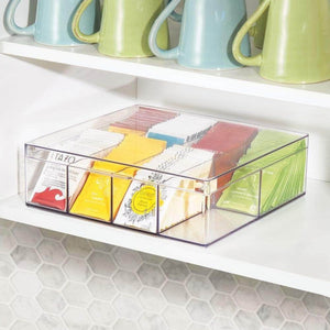 Budget mdesign tea storage organizer box 8 divided sections easy view hinged lid use in kitchen pantry and cabinets holder for tea bags packets small items and accessories bpa free 2 pack clear