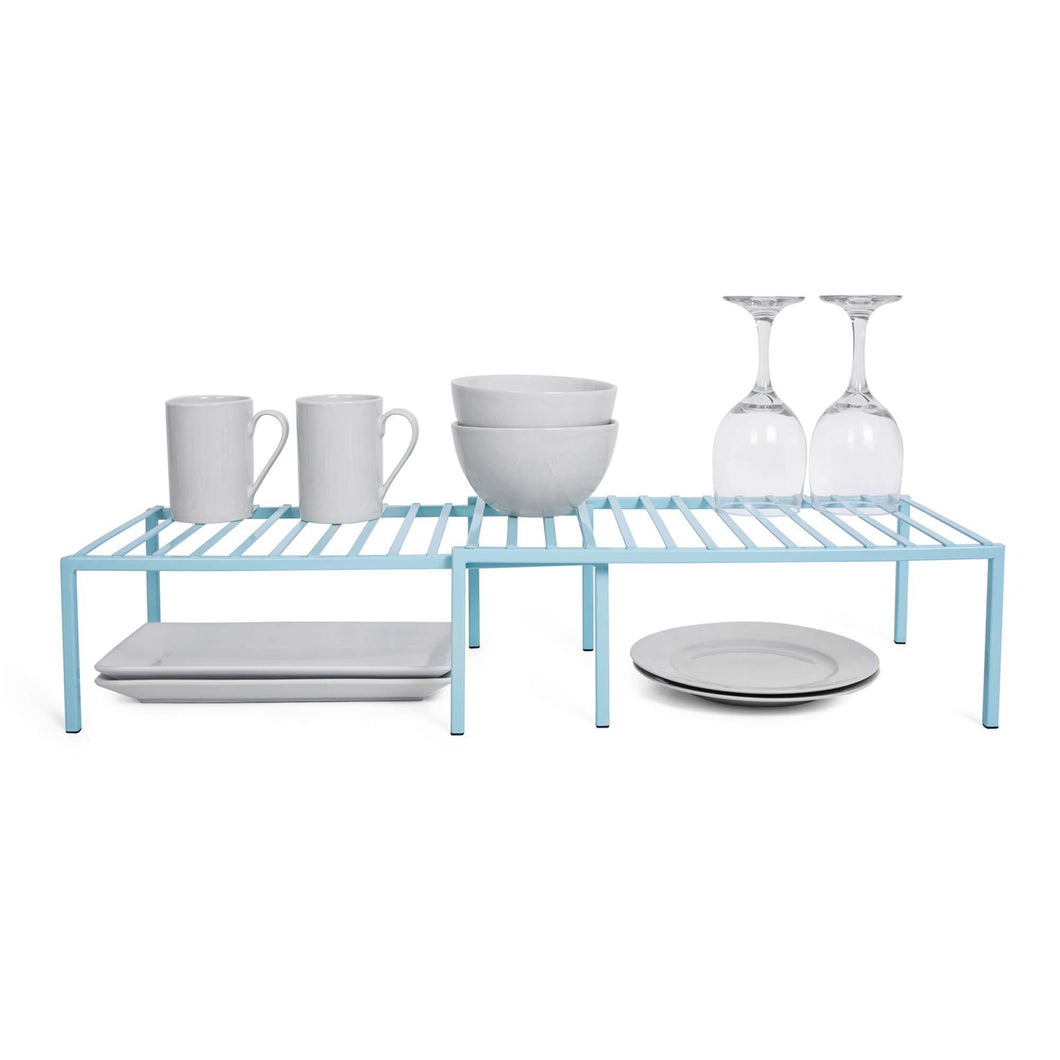 Save on smart design premium kitchen storage shelf w plastic feet expandable steel metal frame rust resistant coating counter pantry shelf organization kitchen 16 32 x 6 inch light blue