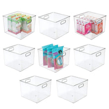 Load image into Gallery viewer, Storage mdesign plastic food storage container bin with handles for kitchen pantry cabinet fridge freezer large organizer for snacks produce vegetables pasta bpa free 10 square 8 pack clear