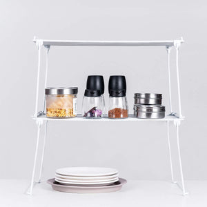 Save 2 pack stackable kitchen cabinet and counter shelf organizer spice jars bottle standing shelf holder rack wire metal cupboard food pantry shelf organizer white