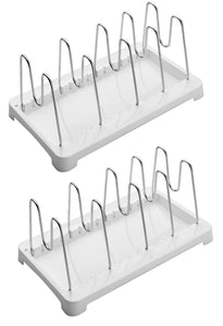 2 Pack Adjustable Pot Lid Holder Plate Rack, Pan and Pot Organizer for Kitchen Cabinet - SUS304 Stainless Steel Rust Proof