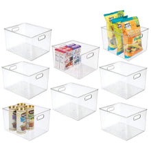 Load image into Gallery viewer, New mdesign plastic storage organizer container bins holders with handles for kitchen pantry cabinet fridge freezer large for organizing snacks produce vegetables pasta food 8 pack clear