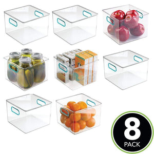 Discover the mdesign plastic food storage container bin with handles for kitchen pantry cabinet fridge freezer cube organizer for snacks produce vegetables pasta bpa free food safe 8 pack clear blue