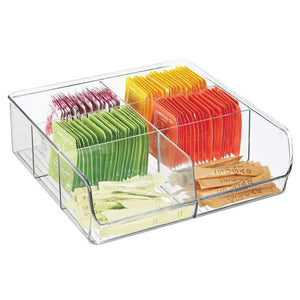Select nice mdesign plastic wide food storage organizer bin caddy for kitchen pantry cabinet countertop holds baking supplies spices pouches dressing mixes tea sugar packets 6 sections 5 pack clear