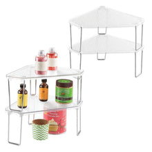 Load image into Gallery viewer, Explore mdesign corner plastic metal freestanding stackable organizer shelf for kitchen countertop pantry or cabinet for storing plates mugs bowls canned goods baking supplies 4 pack clear chrome