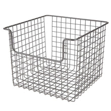 Load image into Gallery viewer, Buy now mdesign metal wire open front organizer basket for kitchen pantry cabinet shelf holds canned goods baking supplies boxed food mixes fruits vegetables snacks 10 wide 4 pack graphite gray