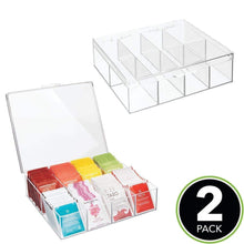 Load image into Gallery viewer, Budget friendly mdesign tea storage organizer box 8 divided sections easy view hinged lid use in kitchen pantry and cabinets holder for tea bags packets small items and accessories bpa free 2 pack clear