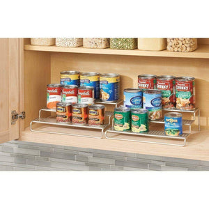 Amazon best mdesign adjustable expandable kitchen wire metal storage cabinet cupboard food pantry shelf organizer spice bottle rack holder 3 level storage up to 25 wide 2 pack silver