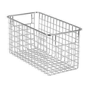 Products mdesign farmhouse decor metal wire food storage organizer bin basket with handles for kitchen cabinets pantry bathroom laundry room closets garage 12 x 6 x 6 8 pack chrome