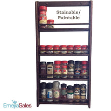 Load image into Gallery viewer, Organize with emejiasales oak spice rack wall mount organizer 5 tier solid oak wood with natural finish seasoning storage for pantry and kitchen holds 30 herb jars