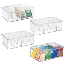 Load image into Gallery viewer, Related mdesign stackable plastic tea bag holder storage bin box for kitchen cabinets countertops pantry organizer holds beverage bags cups pods packets condiment accessories 4 pack clear