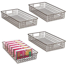 Load image into Gallery viewer, Shop mdesign household metal wire cabinet organizer storage organizer bins baskets trays for kitchen pantry pantry fridge closets garage laundry bathroom 16 x 9 x 3 4 pack bronze