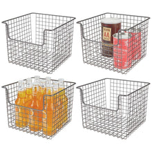 Load image into Gallery viewer, Amazon best mdesign metal wire open front organizer basket for kitchen pantry cabinet shelf holds canned goods baking supplies boxed food mixes fruits vegetables snacks 10 wide 4 pack graphite gray