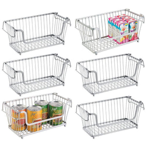 Shop for mdesign modern farmhouse metal wire household stackable storage organizer bin basket with handles for kitchen cabinets pantry closets bathrooms 12 5 wide 6 pack chrome