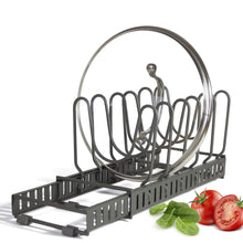 "Load image into Gallery viewer, 9+ Lids - BetterThingsHome Expandable Lid Holder: Total 10 Adjustable Compartments, Stores 9+ Lids, Can Be Extended to 22.25"", Kitchen Cookware Pan Po"