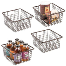 Load image into Gallery viewer, Shop for mdesign farmhouse decor metal wire food storage organizer bin basket with handles for kitchen cabinets pantry bathroom laundry room closets garage 10 25 x 9 25 x 5 25 4 pack bronze
