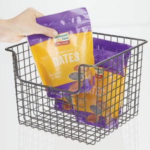 Best seller  mdesign metal wire open front organizer basket for kitchen pantry cabinet shelf holds canned goods baking supplies boxed food mixes fruits vegetables snacks 10 wide 4 pack graphite gray