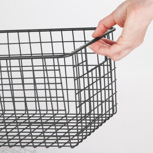 Shop here mdesign farmhouse decor metal wire food organizer storage bin basket with handles for kitchen cabinets pantry bathroom laundry room closets garage 16 x 9 x 6 in 4 pack matte black