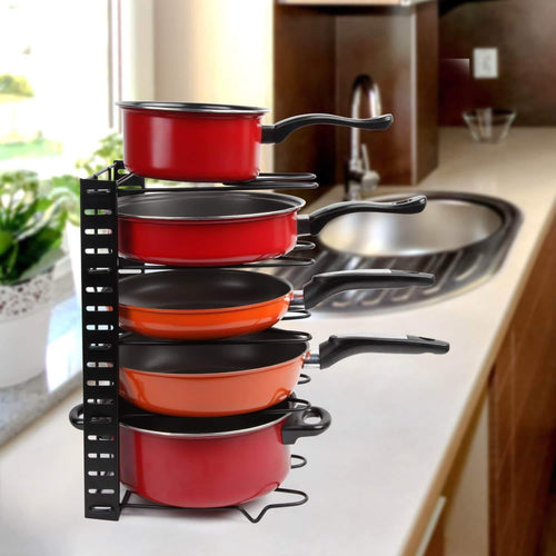Height Adjustable Pan Organizer Rack, VDOMUS Pan and Pot Lid Holder Black Metal (Black)