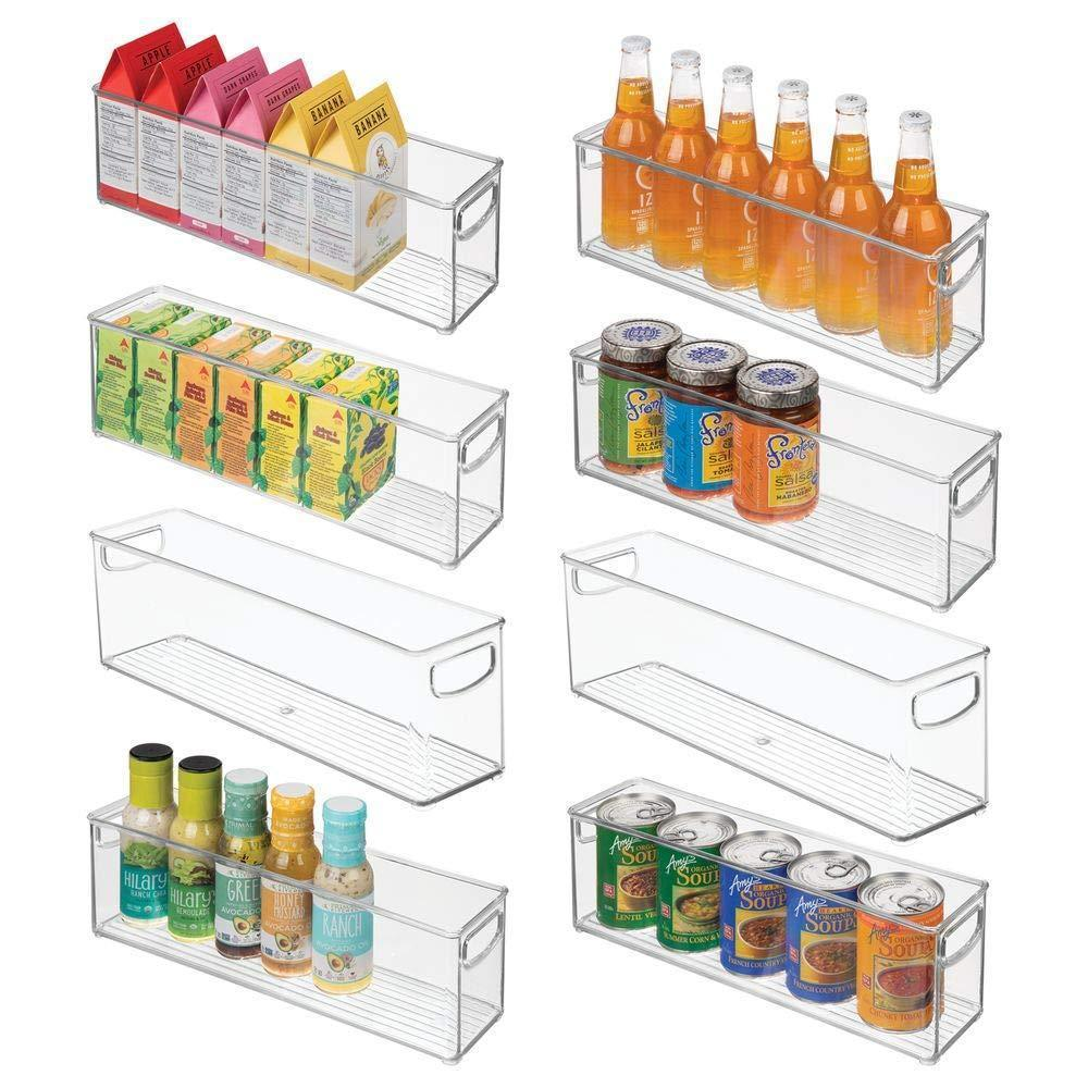 New mdesign plastic stackable kitchen pantry cabinet refrigerator or freezer food storage bins with handles organizer for fruit yogurt snacks pasta bpa free 16 long 8 pack clear