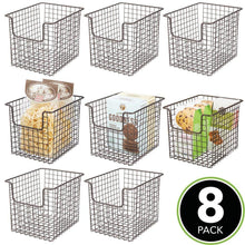 Load image into Gallery viewer, Latest mdesign household metal kitchen pantry food storage organizer basket bin farmhouse grid design or cabinets cupboards shelves holds potatoes onions fruit 8 wide 8 pack bronze