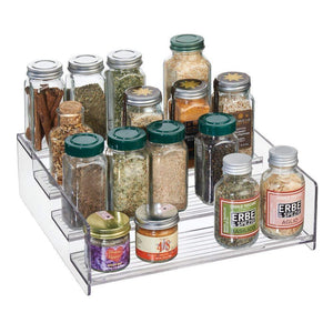 Save mdesign plastic kitchen spice bottle rack holder food storage organizer for cabinet cupboard pantry shelf holds spices mason jars baking supplies canned food 4 levels 4 pack clear