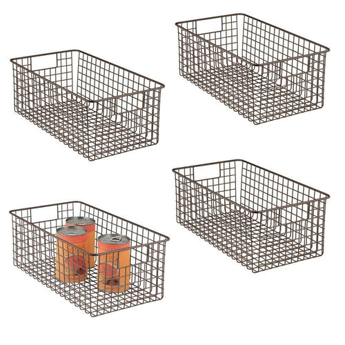 Buy now mdesign farmhouse decor metal wire food organizer storage bin basket with handles for kitchen cabinets pantry bathroom laundry room closets garage 16 x 9 x 6 in 4 pack bronze