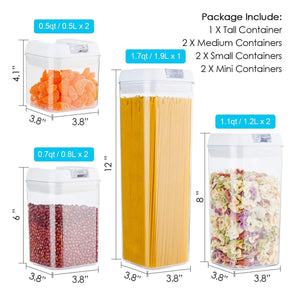 Storage airtight food storage containers vtopmart 7 pieces bpa free plastic cereal containers with easy lock lids for kitchen pantry organization and storage include 24 free chalkboard labels and 1 marker