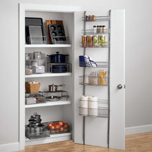 Load image into Gallery viewer, Discover the best premium over the door steel frame kitchen pantry and bath room organizer in satin nickel adjustable shelf system made of solid steel hung or door mounted option