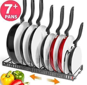 "Bth New Expandable Kitchen Pan And Pot Organizer Rack: Stores 7+ Pans, Can Be Extended To 22.25"", Total 7 Adjustable Compartments, Pantry Cupboard Bakeware Plate Holder (Bth Expandable Pan Organizer)"