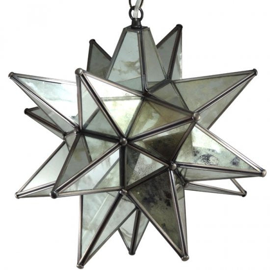 Moravian Antique Mirrored Glass Star Light