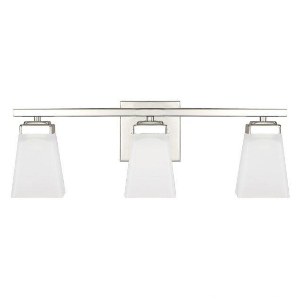 Capital Lighting Baxley 3 Light Vanity Bath Light in Polished Nickel with White Glass 114431PN-334