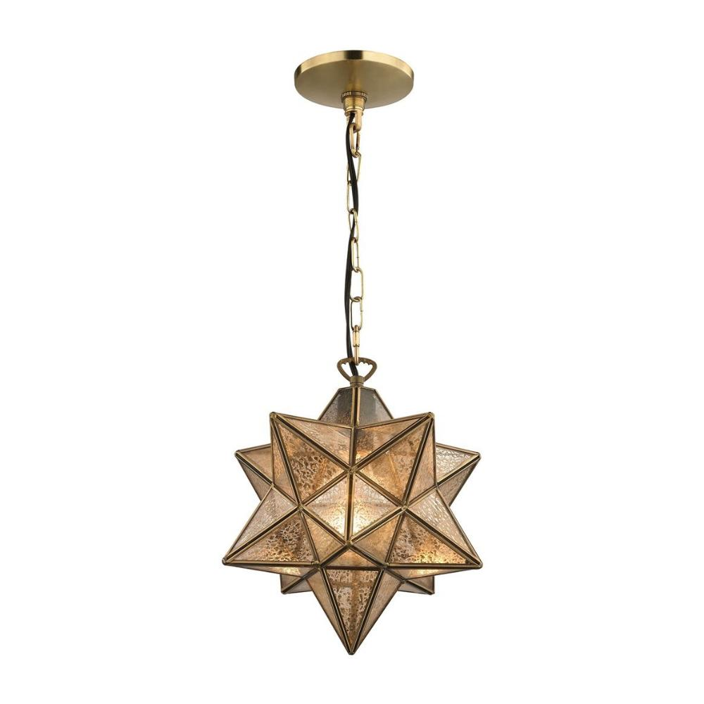 Moravian Star 1-Light Pendant, Pendant, Gold, Antique Mercury Glass