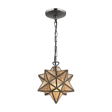 Moravian Star 1-Light Pendant, Pendant, Bronze, Antique Mercury Glass