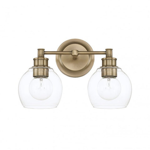 2 Light Mid-Century Vanity Light in Aged Brass with clear rounded glass shades by Capital Lighting 121121AD-426