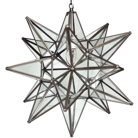 "20"" Moravian Clear Glass and Bronze Starlight 20CG-B"