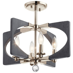 Alscar Semi Flush, 4-Light Semi Flush Mount, Driftwood Grey, Polished Nickel