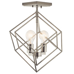 Beckenham Semi Flush, 2-Light Semi Flush Mount, Brushed Nickel