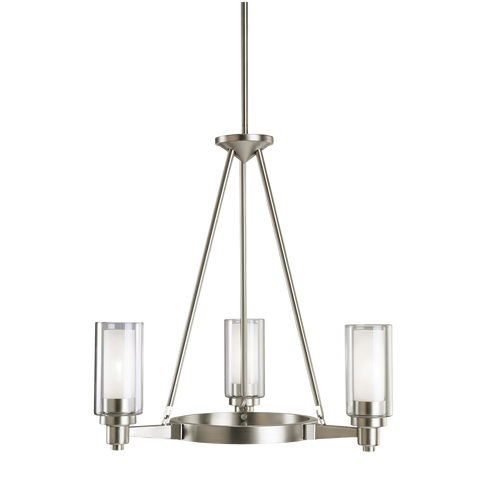 Circolo 3-Light Chandelier in Brushed Nickel, by Kichler, 2343NI