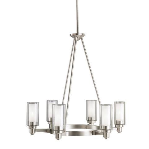 Circolo 6-Light Chandelier in Brushed Nickel, by Kichler, 2344NI