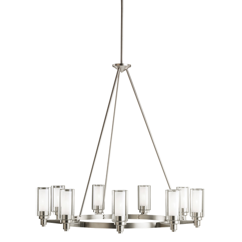 Circolo 9-Light Chandelier in Brushed Nickel, by Kichler, 2346NI