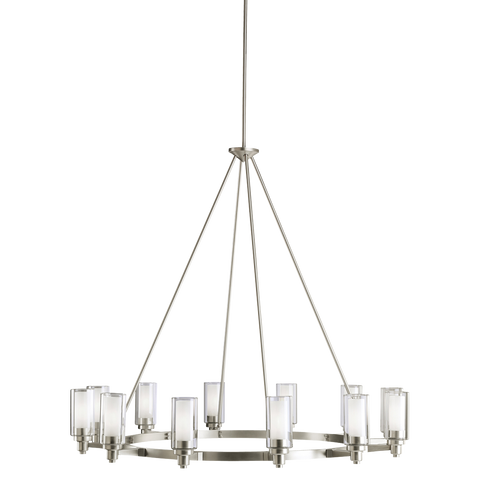 Circolo 12-Light Chandelier in Brushed Nickel, by Kichler, 2347NI