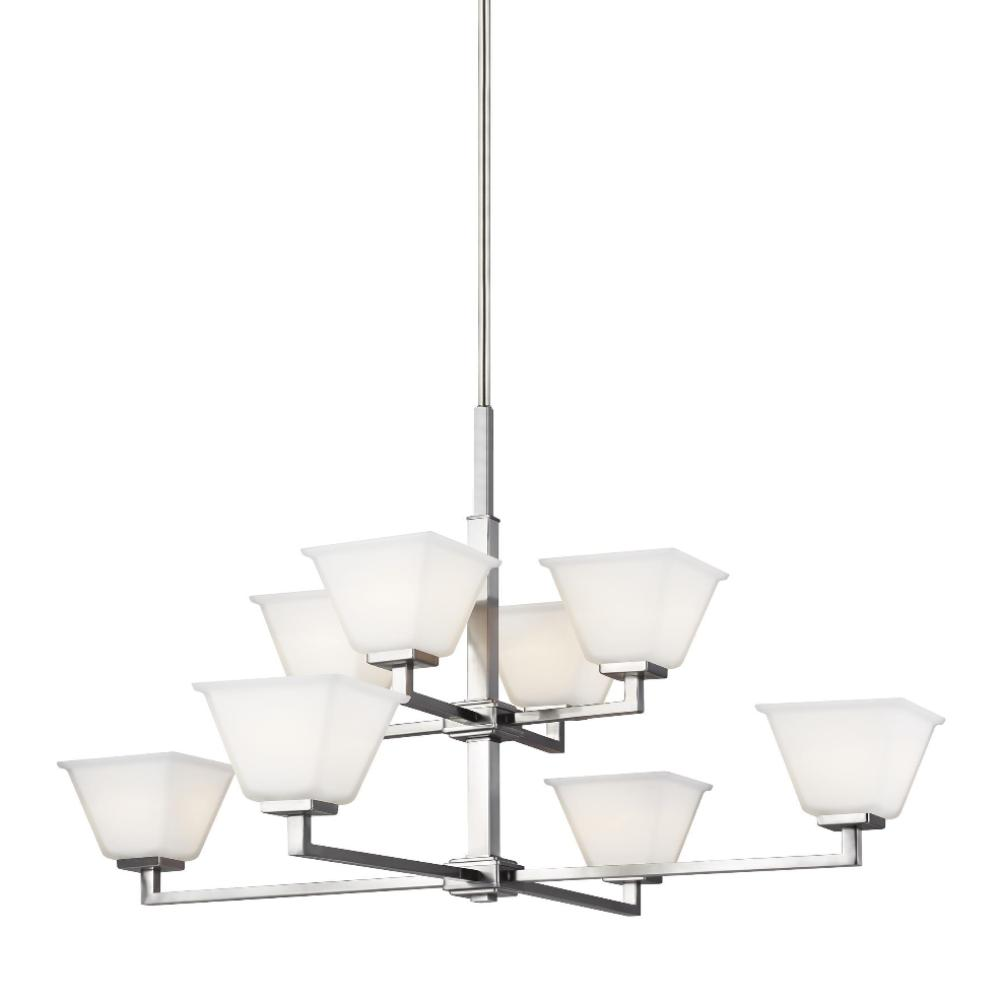 Poppy 8-Light Chandelier, Chandelier, Brushed Nickel