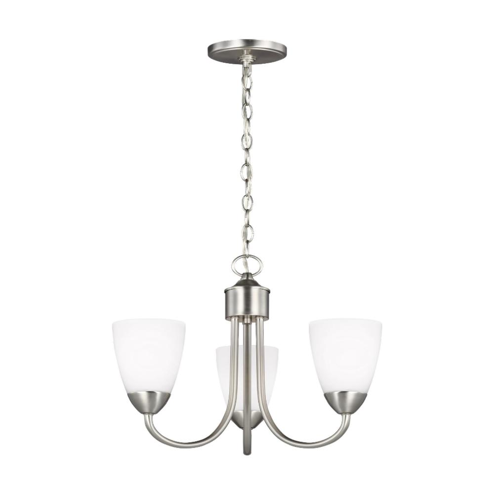 Barton 3-Light Chandelier, Chandelier, Brushed Nickel