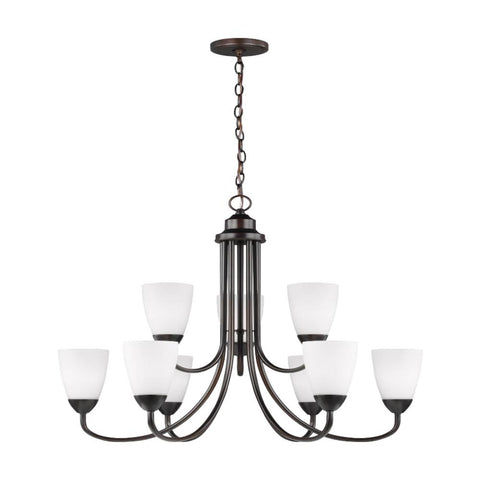 Barton Nine Light Chandelier, Chandelier, Bronze