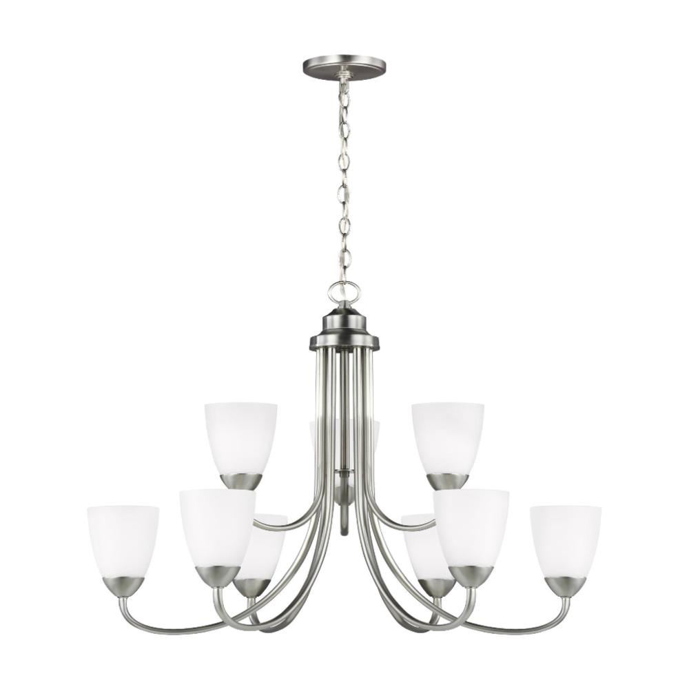 Barton Nine Light Chandelier, Chandelier, Brushed Nickel